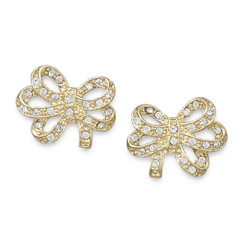 14 Karat Gold Plated Crystal Bow Fashion Earrings, Default Title: Womens Earrings- Shop MIXXCI