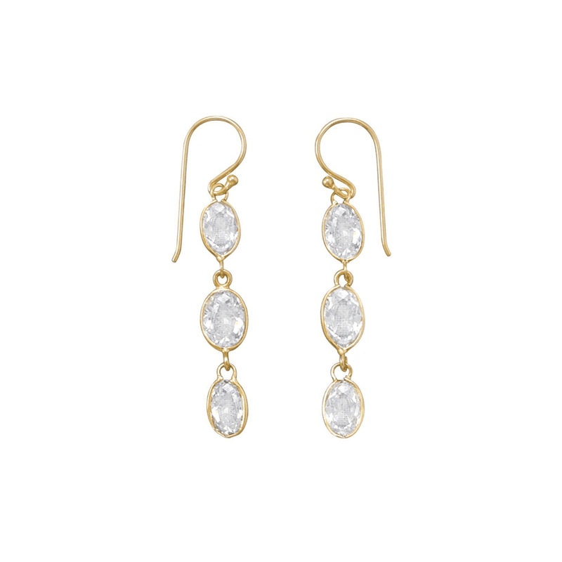 14 Karat Gold Plated Cz Earrings, Default Title: Womens Earrings- Shop MIXXCI