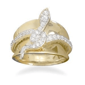 14 Karat Gold Plated Sterling Silver Cz Snake Ring, 6: Womens Rings- Shop MIXXCI