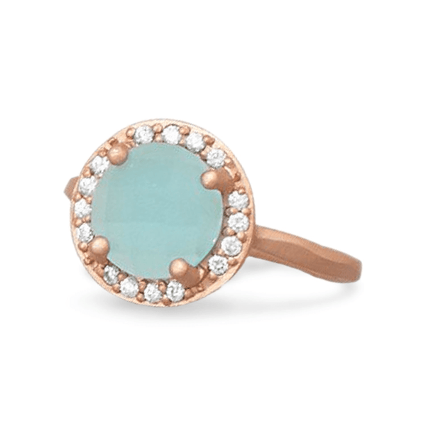 14 Karat Rose Gold Plated Blue Glass Ring, 10: Womens Rings- Shop MIXXCI
