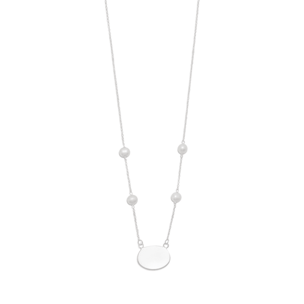 "16"" Id Tag Necklace With White Cultured Freshwater Pearls, Default Title: Womens Necklace- Shop MIXXCI"