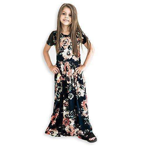 21Kids Girls Long Sleeve Round Neck Floral Printed Holiday Dress Size 6-12: Girls Clothing- Shop MIXXCI