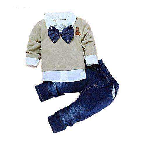 2Pcs Toddler Baby Boys Bow Tie Shirt Tops+Denim Pants Gentleman Clothes Outfits: Boys Clothing- Shop MIXXCI