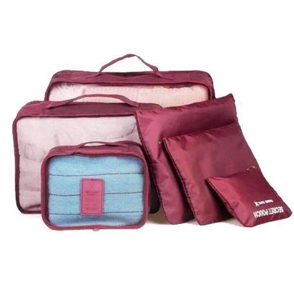 6 Pc Portable Travel Luggage Packing Cubes, Rose Red: Travel Case- Shop MIXXCI