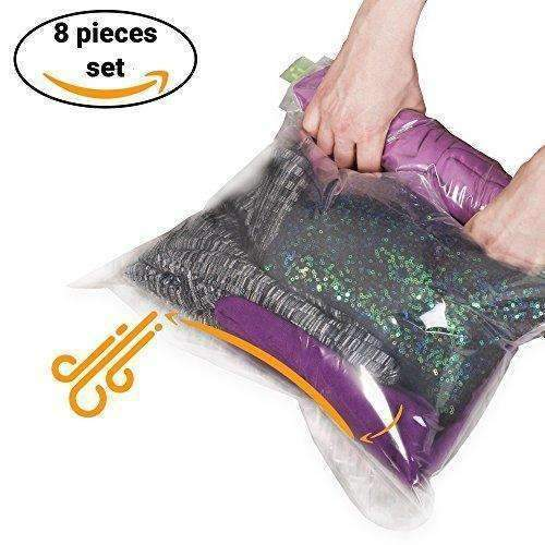 8 Travel Space Saver Storage Bags For Clothes - No Vacuum Or Pump Needed - Reusable Packing Sacks: Clothing & Closet Storage- Shop MIXXCI