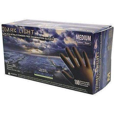 Adenna Dark Light 9 Mil Nitrile Powder Free Exam Gloves (Black, Medium) Box Of 100: New- Shop MIXXCI