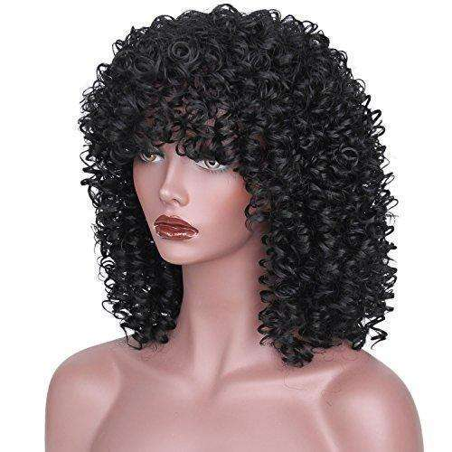 "AISI HAIR Synthetic Afro Curly Hair Wigs for Black Woman Short Kinky Hair Jet Black Heat Resistance Fiber 14"" 290g: Hair Care Products- Shop MIXXCI"