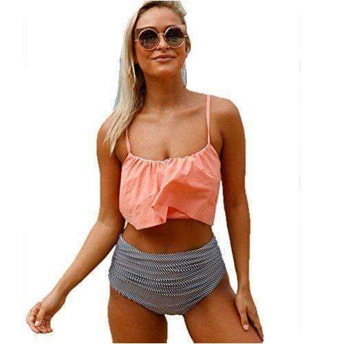 Aleumdr Womens Thin Shoulder Straps Ruched High-Waisted Bikini Swimsuit: Womens Swimsuits - Bikini- Shop MIXXCI