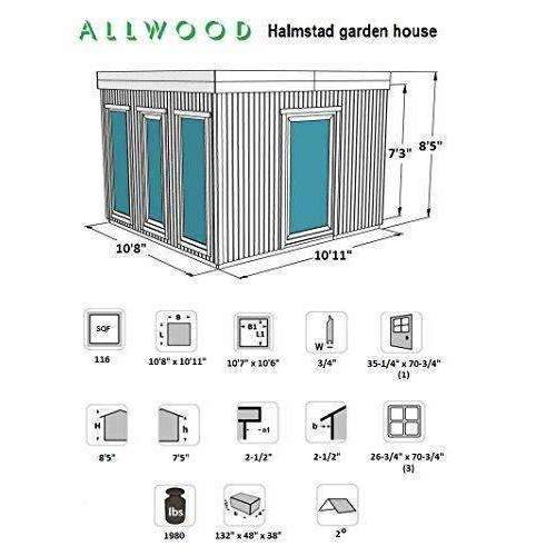 Allwood Halmstad | 106 Sqf Studio Kit Cabin, Garden House: Kit Cabin- Shop MIXXCI