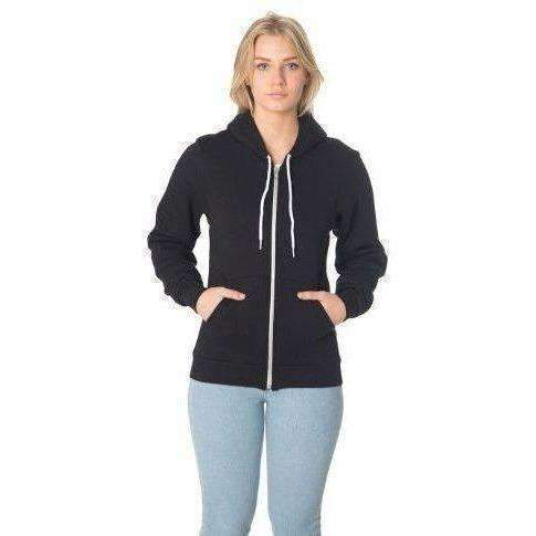 American Apparel  Unisex Flex Fleece Zip Hoodie, Black: New- Shop MIXXCI