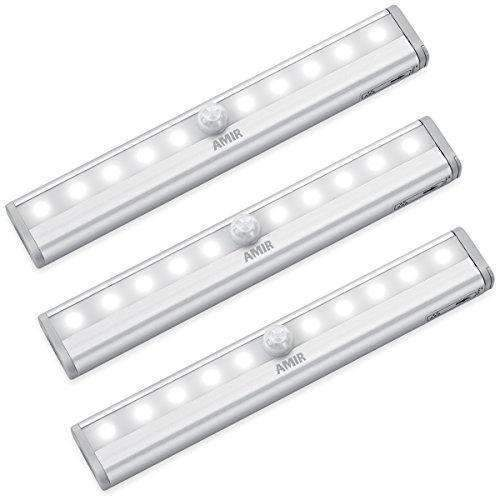Amir Motion Sensor Lights, 10-Led Diy Stick-On Anywhere Battery Operated Portable Wireless Cabinet Night/ Stairs/ Step/Closet Light Bar With Magnetic Strip (White, 3 Pack): Hobbies- Shop MIXXCI