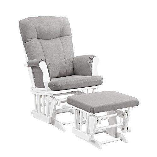 Angel Line Monterey Glider & Ottoman, White With Gray Cushion: Patio Furniture & Accessories- Shop MIXXCI