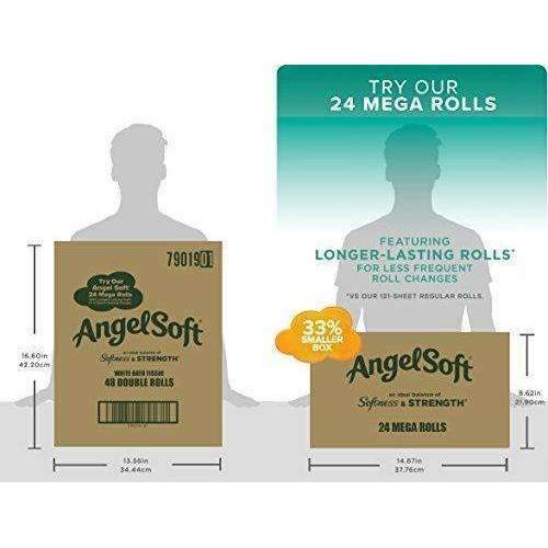 Angel Soft 2 Ply Toilet Paper, 48 Double Bath Tissue (Pack Of 4 With 12 Rolls Each): Health & Household- Shop MIXXCI