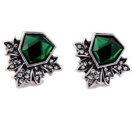 Antique Silver Color Green Stud Earrings Fashion Jewelry New Brand Women Vintage Accessories: Womens Jewelry- Shop MIXXCI