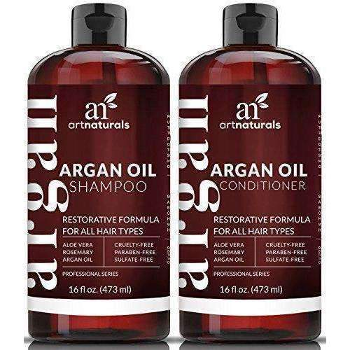 Art Naturals Organic Moroccan Argan Oil Shampoo And Conditioner Set (2 X 16 Oz) - Sulfate Free - Volumizing & Moisturizing, Gentle On Curly & Color Treated Hair,For Men & Women Infused With Keratin: Hair Care Products- Shop MIXXCI