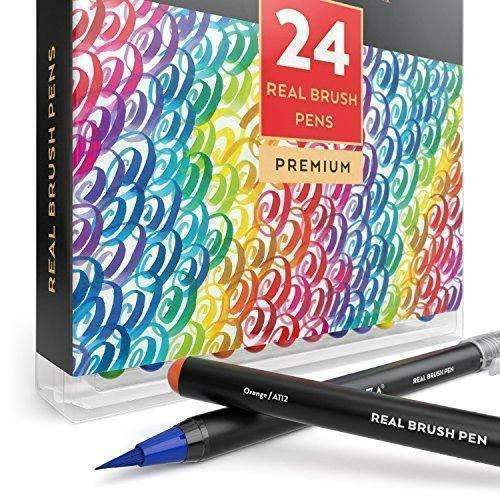 Arteza Real Brush Pens, 24 Paint Markers With Flexible Brush Tips, Professional Watercolor Pens For Painting, Drawing, Coloring & More, 100% Nontoxic, Multiple Colors: Arts, Crafts & Sewing- Shop MIXXCI