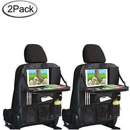 "Back Seat Organizer, Car Organizer With Tray 9.7"" Tablet Pocket Wet Wipes Pocket Mesh Pocket For Toy Magazine Storage Travel Accessory For Kids (Black 2Pc): New- Shop MIXXCI"