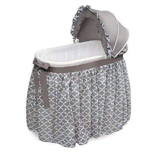 Badger Basket Wishes Oval Bassinet Full Length Lantern Skirt, Gray/White: Bassinet- Shop MIXXCI