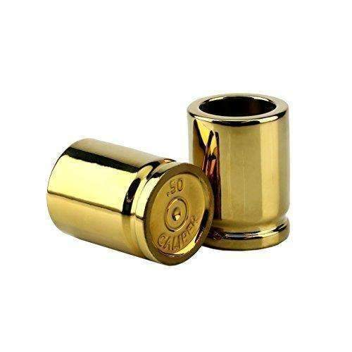 Barbuzzo 50 Caliber Shot Glass - Set Of 2 Shot Glasses Shaped Like Bullet Casings - Step Up To The Bar, Line 'Em Up, And Take Your Best Shot - Great Addition To The Mancave - Each Shot Holds 2-Ounces: Barware- Shop MIXXCI