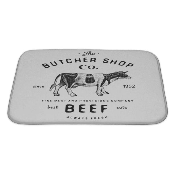 Bath Rug Mat No Slip Microfiber Memory Foam, Butcher Shop Vintage Emblem Beef Meat Products: Bath Mat- Shop MIXXCI