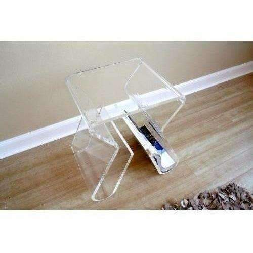 Baxton Studio Carlina Acrylic Stool/End Table, Clear: Living Room- Shop MIXXCI