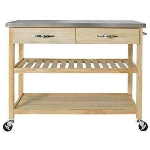 Bcp Natural Wood Kitchen Island Utility Cart With Stainless Steel Top Restaurant: Kitchen & Dining- Shop MIXXCI