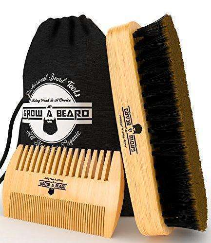 Beard Brush And Comb Set for Men - Gift Box And Friendly Bag - Best Bamboo Grooming Kit for Home & Travel - Great for Dry or Wet Beards - Distributes Balm for Growth & Styling - Adds Shine & Softness: Mens Shaving & Hair Removal- Shop MIXXCI