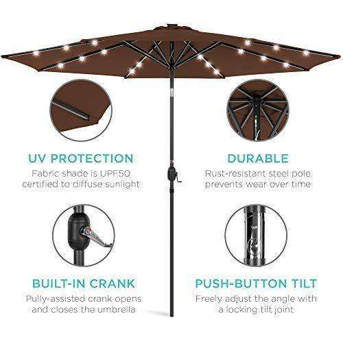 Best Choice Products 10ft Solar LED Lighted Patio Umbrella w/Tilt Adjustment, Fade-Resistant Fabric - Gray: - Shop MIXXCI