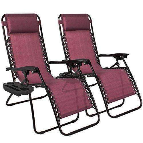 Best Choice Products Zero Gravity Chairs Case Of (2) Lounge Patio Chairs Outdoor Yard Beach- Burgundy: Patio Furniture & Accessories- Shop MIXXCI