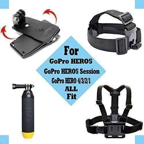 Black Pro Basic Common Outdoor Sports Kit For Gopro Hero 5/Session5/ 4 / 3+ / 3 / 2 / 1 Sj4000 /5000/ 6000 /Akaso/ Apeman/ Dbpower/ And Sony Sports Dv And More: New- Shop MIXXCI