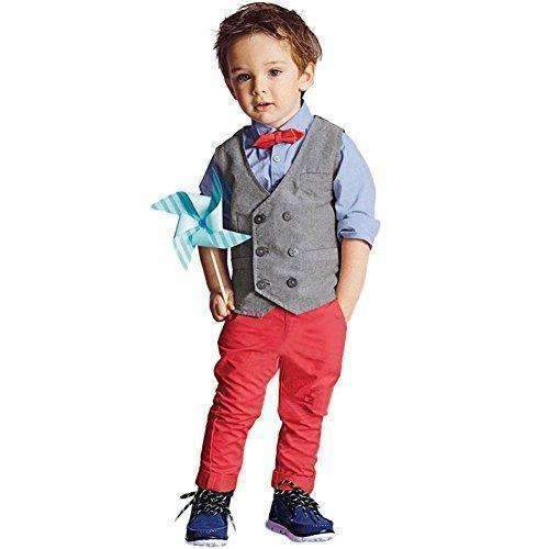 Boys Waistcoat, Kids Suits & Gentleman Sets With Vest + Bowknot Shirt + Pants For Daily Wear Special Occasion: Boys Clothing- Shop MIXXCI