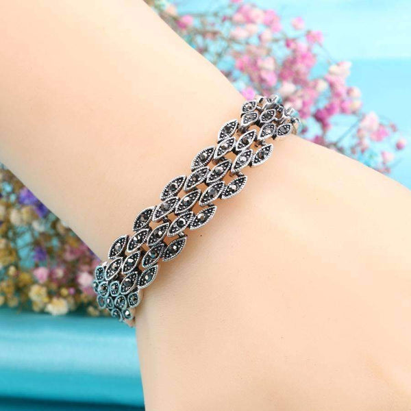 Bright Black Crystal Bracelet For Women Antique Silver Color Little Eye Link Bracelets Charm: Womens Jewelry- Shop MIXXCI