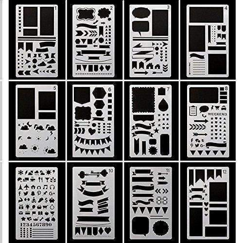 Bullet Journal Stencils Plastic Planner Stencils Journal/Notebook/Diary/Scrapbook Diy Drawing Stencils 4X7 Inch, 12 Pieces: Arts, Crafts & Sewing- Shop MIXXCI