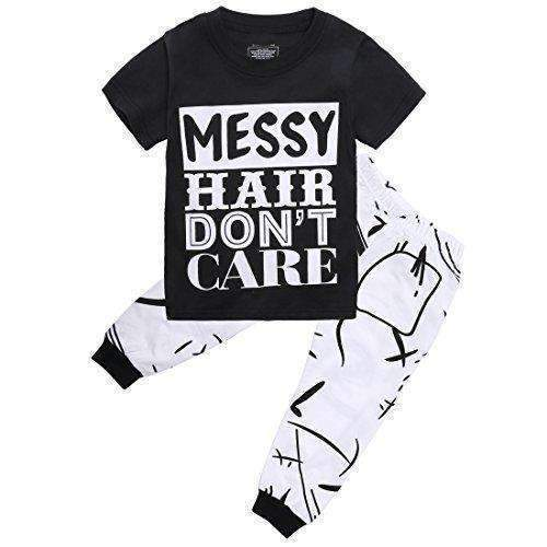 Canis Little Girls Short Sleeve Messy Hair Don'T Care Letters Print T-Shirt And Pants Outfit Summer: Girls Clothing- Shop MIXXCI