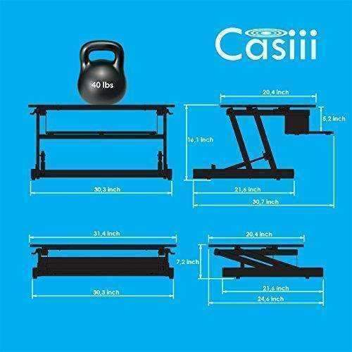 "Casiii Adjustable Standing Desk Riser - Gas Spring Converter To Stand Up Or Sit Down, 32"" Black 2-Tier Desktop, Dual Computer Monitors Space W/Keyboard Tray: Desks & Workstations- Shop MIXXCI"