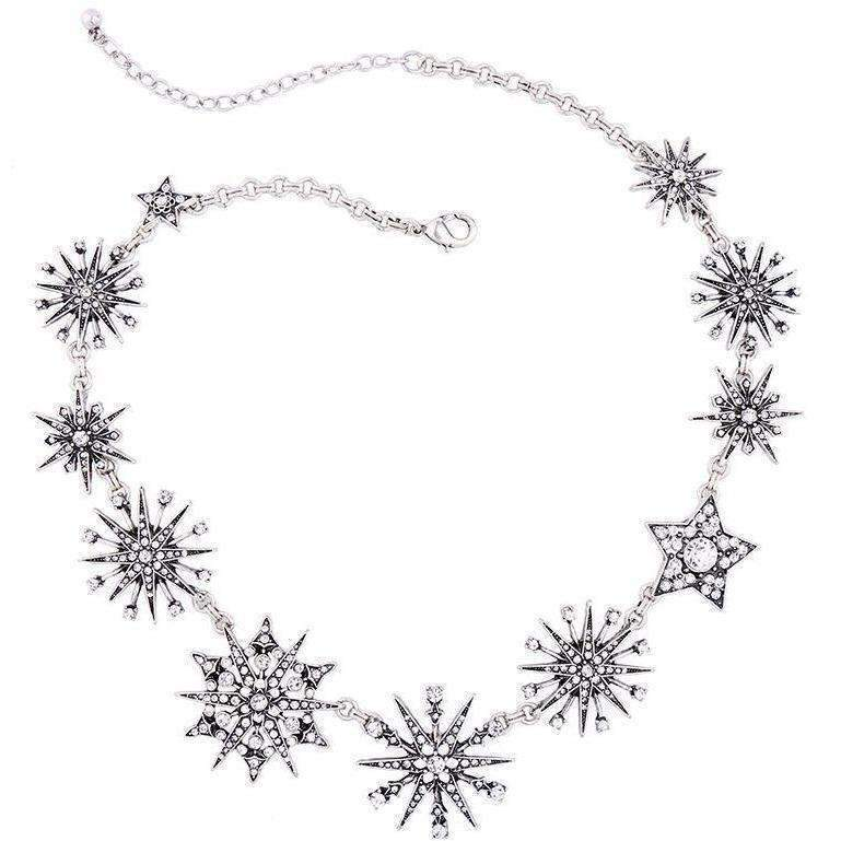 Charming Silver Color Rhinestone Snowflake Necklaces For Women Choker Necklace Fashion Jewelry: Womens Jewelry- Shop MIXXCI