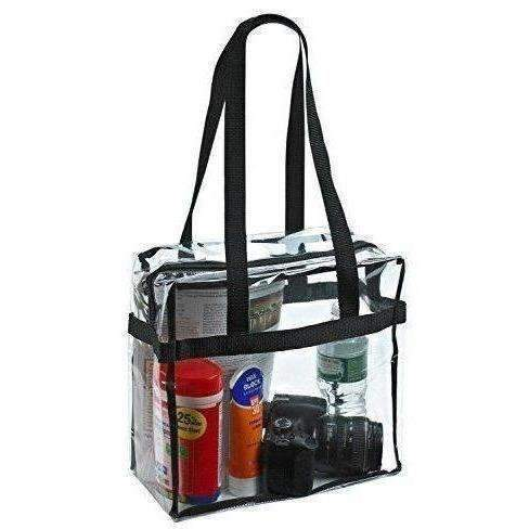 "Clear Tote Bag Nfl Stadium Approved - 12"" X 12"" X 6"" - Shoulder Straps And Zippered Top. The Clear Bag Is Perfect For Work, School, Sports Games And Concerts. Meets Nfl And Pga Tournament Guidelines.: New- Shop MIXXCI"