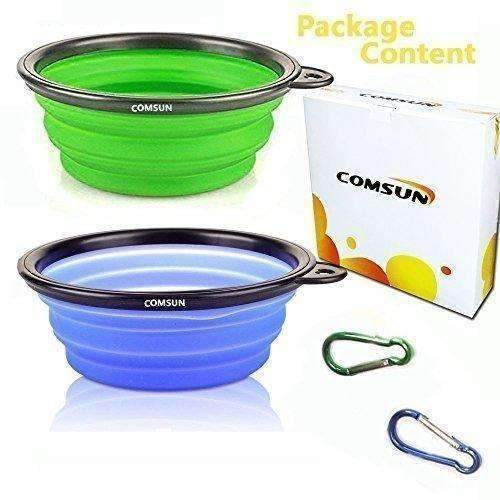 Comsun 2-Pack Collapsible Dog Bowl, Food Grade Silicone Bpa Free, Foldable Expandable Cup Dish For Pet Cat Food Water Feeding Portable Travel Bowl Blue And Green Free Carabiner ¡­: New- Shop MIXXCI