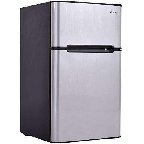 Costway 2-Door Compact Refrigerator 3.2 Cu Ft. Unit Small Freezer Cooler Fridge (Gray): Appliances- Shop MIXXCI