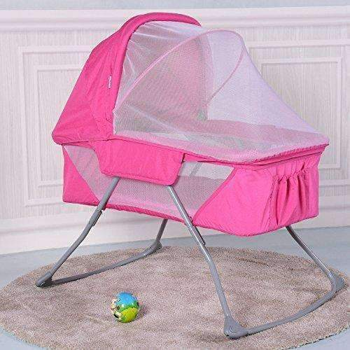 Costzon Baby Bassinet, Foldable Rocking Bed With Mosquito Net & Carrying Bag (Pink): Bassinet- Shop MIXXCI