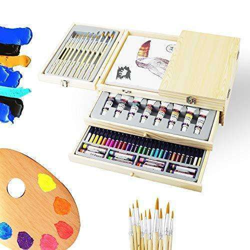 Deluxe Art Supplies, 83 Piece Art Set in Portable Wooden Case, with 2 Drawing Book and 4 Canvas Panels, Professional Art Set for Painting & Drawing, Art Kit for Kids, Teens and Adults/Gift: - Shop MIXXCI
