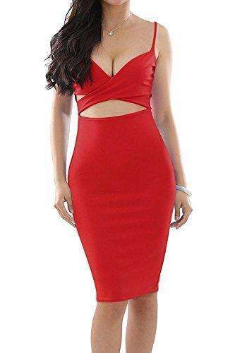 Doramode Sexy Strap Backless Cut-Out Bandage Bodycon Clubwear Midi Dress For Women: - Shop MIXXCI
