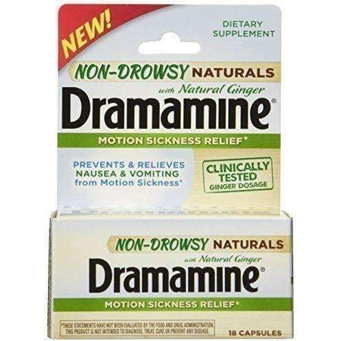 Dramamine Non-Drowsy Naturals With Natural Ginger, 18 Count: New- Shop MIXXCI