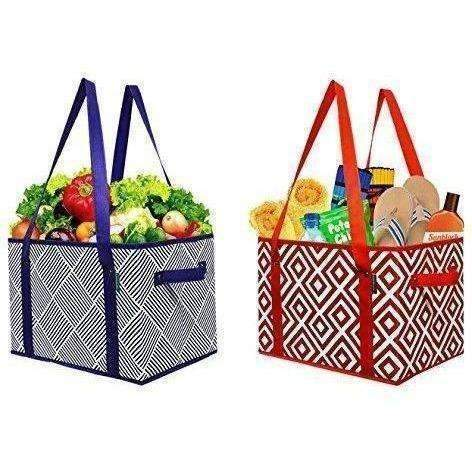 Earthwise Deluxe Collapsible Reusable Shopping Box Grocery Bag Set With Reinforced Bottom (Set Of 2): New- Shop MIXXCI