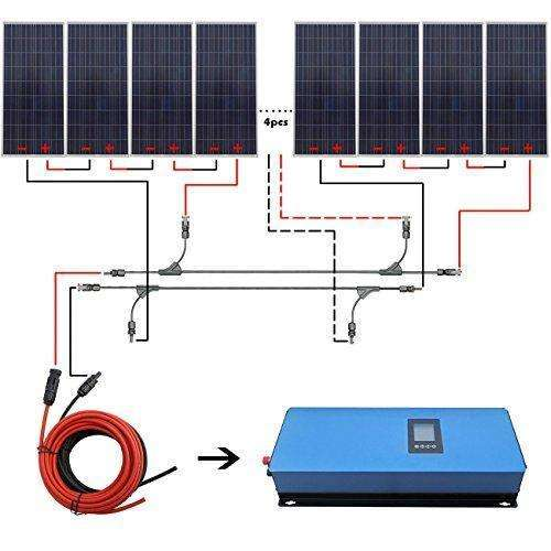 Eco-Worthy 2000W Grid Tie Solar System Kit: 12Pcs 150W Solar Panel + 2Kw Pure Sine Inverter+Solar Cable: Kit Cabin- Shop MIXXCI