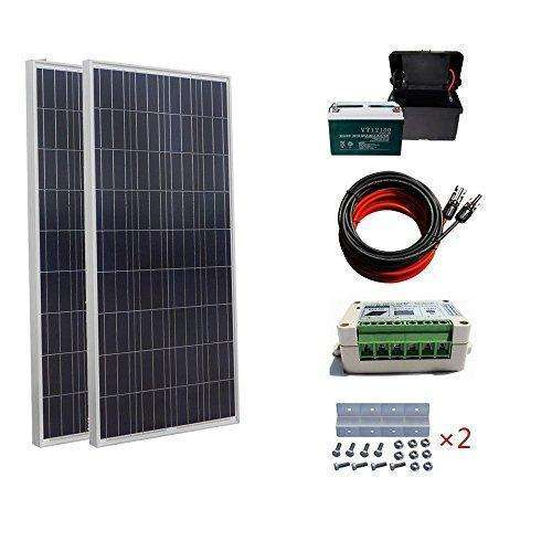 Eco-Worthy 300 Watt Poly Solar Panel Starter Kit With 15A Solar Controller Battery Charge Off Grid System: - Shop MIXXCI