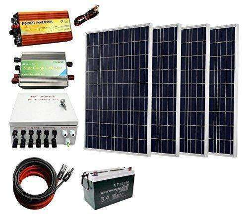 Eco-Worthy 400 Watts Solar Panel Kit: 4Pcs 100W Poly Solar Panel + 1000W 12V-110V Pure Sine Wave Inverter + Combiner Box + Solar Cable + 45A Pwm Charge Controller + 100Ah Battery: - Shop MIXXCI