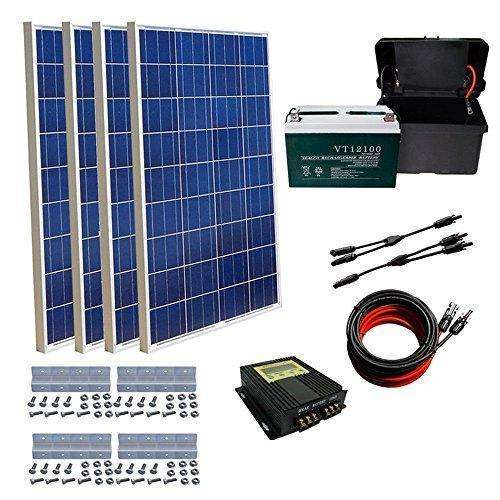 Eco-Worthy 400W Solar Panel Kit: 4Pcs 100W Solar Panel+ 20A Mppt Charge Controller+ Solar Cable Adaptor+ Z Bracket Mounts+ 100Ah Agm Battery: Kit Cabin- Shop MIXXCI