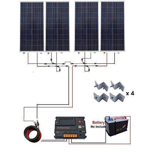 Eco-Worthy 600W Solar Kit 4Pcs 150W Solar Panel With Auto Switch Lcd Intelligent Regulator Charge Controller For Off Grid: - Shop MIXXCI