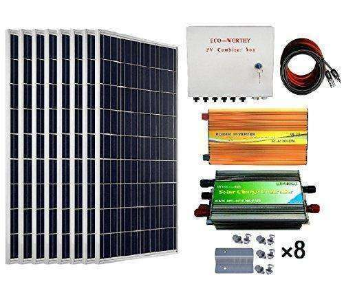 Eco-Worthy 800 Watts Solar Panel Kit: 8Pcs 100W Poly Solar Panel + 3Kw 24V-110V Off Grid Inverter + Combiner Box + 15Ft Solar Cable + 45A Pwm Charge Controller + Z Mounting Brackets: - Shop MIXXCI